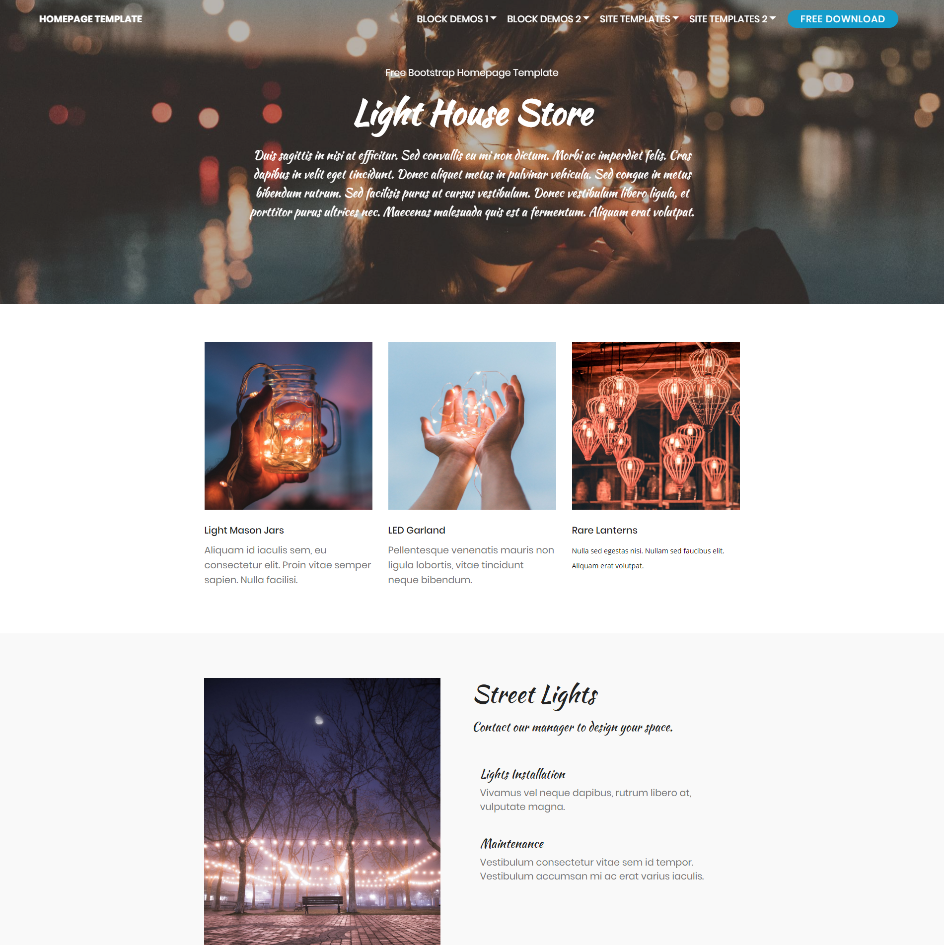HTML5 Bootstrap Homepage Templates
